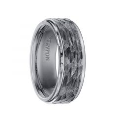 ISAAC Tungsten Carbide Wedding Band with Polished Step Edges and Hammered Finished Raised Center by Triton Rings - 8 mm