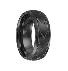 IVES Domed Black Tungsten Carbide Comfort Fit Band with Brush Finish Center and Chevron Pattern Cuts by Triton Rings - 8 mm