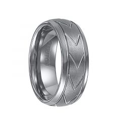 JARVIS Domed Tungsten Carbide Comfort Fit Band with Brush Finished Center and Chevron Pattern Cuts by Triton Rings - 9 mm