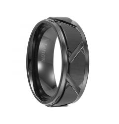 KEEGAN Step Edge Black Tungsten Carbide Comfort Fit Wedding Band with Vertical Satin Finish and Bright Edges and Diagonal Cuts by Triton Rings - 8 mm