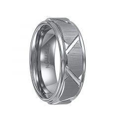 KEATON Step Edge Tungsten Carbide Comfort Fit Wedding Band with Vertical Satin Finish and Bright Edges and Diagonal Cuts by Triton Rings - 8 mm