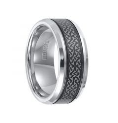 KENYON Beveled Tungsten Carbide Ring with Offset Grooves and Contemporary Laser Engraved Pattern on Black Tungsten Center by Triton Rings - 9 mm