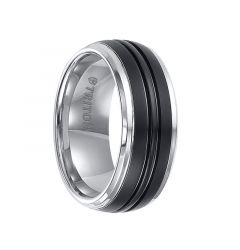 KENWAY Domed Tungsten Carbide Ring with Dual Grooved Brush Finished Black Tungsten Center and Beveled Edges by Triton Rings - 9 mm
