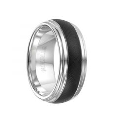 KILBY Black and White Domed Double Step Edge Tungsten Carbide Comfort Fit Wedding Band with Florentine Finish by Triton Rings - 9 mm