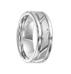 KURT Dual Grooved White Tungsten Carbide Wedding Band with Diagonal Cut Brush Finished Center and Polished Beveled Edges by Triton Rings - 8 mm