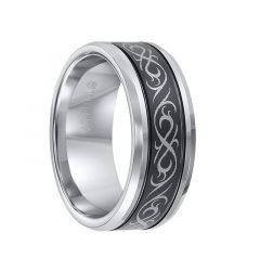 KIRBY Beveled Tungsten Carbide Ring with Dual Offset Grooves and Laser Engraved Celtic Pattern Black Tungsten Center by Triton Rings - 9 mm