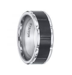 KONRAD Polished Finished Edges Tungsten Carbide Ring with Brushed Black Finished Center and Alternating Vertical Grooves by Triton Rings - 8.5 mm