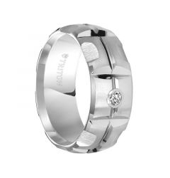 SPENCER Domed White Tungsten Carbide Wedding Band with Matrix Pattern Center and Solitaire Diamond Setting by Triton Rings - 9 mm
