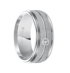 SOLOMON Flat White Tungsten Carbide Ring with Dual Coin Edge Texture Center, Bright Polished Rims and Single Diamond Setting by Triton Rings - 9 mm