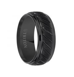 LAMONT Coin Edge Textured Black Tungsten Carbide Wedding Band with Beveled Step Edges and Diagonal Grooves by Triton Rings - 9 mm