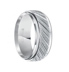 LANCELOT Coin Edge Textured White Tungsten Carbide Wedding Band with Beveled Step Edges and Diagonal Grooves by Triton Rings - 9 mm