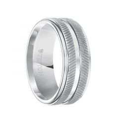 LANDRY White Tungsten Carbide Wedding Band with Dual Raised Diagonal Coin Edge Texture and Polished Step Edges by Triton Rings - 9 mm