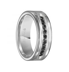 SILAS Polished Tungsten Carbide Wedding Band with Brush Finish Silver Inlay and 1/2 Carat of Channel Set Black Diamonds by Triton Rings - 8 mm