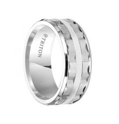 LOWELL Beveled Edge White Tungsten Carbide Wedding Band with Split Matrix Pattern and Polished Center Stripe by Triton Rings - 9 mm