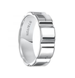 MORGAN Flat Bright Polished White Tungsten Carbide Comfort Fit Wedding Band with Vertical V cuts by Triton Rings - 7 mm