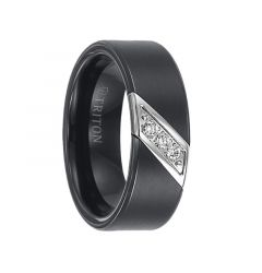 ROLF Flat Black Satin Finished Tungsten Carbide Wedding Band with Diagonal Diamonds Set in Stainless Steel by Triton Rings - 8 mm