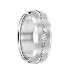 RODRIGO Satin Finished White Tungsten Carbide Wedding Band with Polished Bevels, Center Groove, and Diamond Setting by Triton Rings - 8 mm