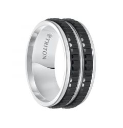 NEIL Black and White Tungsten Carbide Ring with Step Edges and Double Row Texture Detail by Triton Rings - 9 mm