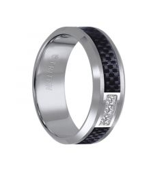 RIDLEY Beveled Tungsten Carbide Ring with Black Carbon Fiber Inlay and Three Channel Set Diamonds by Triton Rings - 8 mm