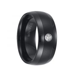 OLIN Domed Black Tungsten Carbide Wedding Band with Satin Finished Center, Polished Edges, and White Diamond Setting by Triton Rings - 9 mm