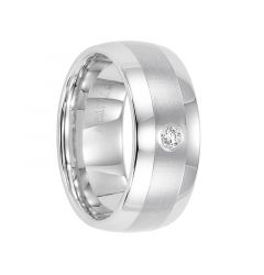 OSCAR Domed White Tungsten Carbide Wedding Band with Satin Finished Center, Polished Edges, and White Diamond Setting by Triton Rings - 9 mm