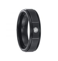 OSWALD Raised Brushed Horizontal Cut Center Black Tungsten Carbide Ring with Polished Step Edges and White Diamond Setting by Triton Rings - 6.5 mm
