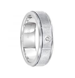 PAXTON Raised Brushed Horizontal Cut Center White Tungsten Carbide Ring with Polished Step Edges and White Diamond Setting by Triton Rings - 6.5 mm