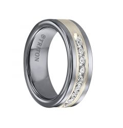 REGINALD Flat Tungsten Carbide Wedding Band with Satin Finished Silver Inlay and Channel Set Diamonds .5 TCW by Triton Rings - 8 mm