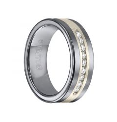 PEYTON Tungsten Carbide Wedding Band with Satin Finish Silver Inlay and Channel Set Diamonds by Triton Rings - 8 mm