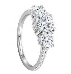 ADELE Three Stone Engagement Ring with Pavé Set Stones - MADE WITH SWAROVSKI® ELEMENTS