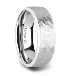 MARTEL White Tungsten Ring with Hammered Finish and Polished Bevels - 8mm & 10mm