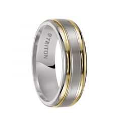 TODD Flat Titanium Ring with Satin Finish Center and Dual 18K Gold Inlay Edges by Triton Rings - 7 mm