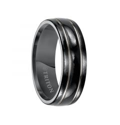 TRENT Domed Polished Black Titanium Comfort Fit Ring with Polished Offset Grooves by Triton Rings - 7 mm