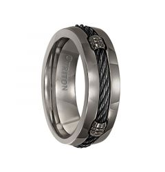 TRUMAN Domed Polished Titanium Ring with Cable Inlay by Triton Rings - 7 mm