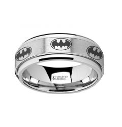 Spinning Engraved Batman Logo Tungsten Carbide Spinner Wedding Band - 8mm