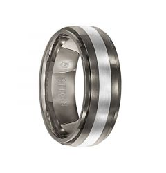 TYLER Slightly Domed Satin Center Titanium Ring with Polished Step Edges and Silver Inlay by Triton Rings - 7.5 mm