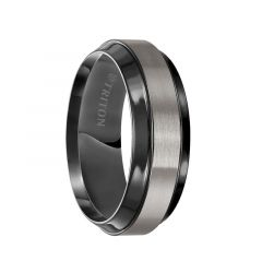 URIAH Satin Finished Titanium Wedding Band with Polished Black Beveled Step Edges by Triton Rings - 8 mm