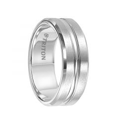 CALLUM Beveled Brush Finish Cobalt Chrome Wedding Band with Polished Center Groove by Triton Rings - 8 mm