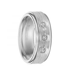 OWEN Cobalt Ring with Polished Step Edges, Hammer Finished Center, and 3 Diamond Settings by Triton Rings - 8 mm