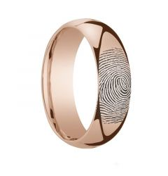 14k Fingerprint Ring Rose Gold Engraved Domed Band - 4mm - 8mm