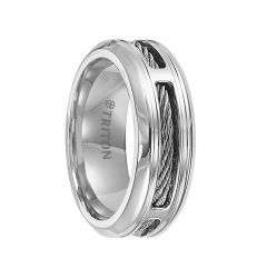 FINLEY Stainless Steel Comfort Fit Wedding Band with Cable Inlay and Beveled Edges by Triton Rings - 7 mm