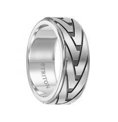 RHYS Stainless Steel Step Edge Band with Etched Pattern by Triton Rings - 8.5 mm