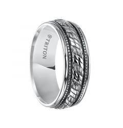 LUCA Sterling Silver Wedding Band with Woven Center and Offset Milgrains with Black Oxidation Finish by Triton Rings - 7 mm