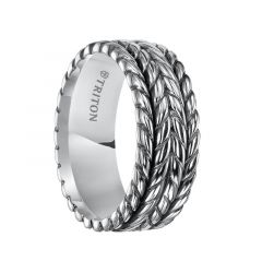 ELLIS Flat Sterling Silver Wedding Band with Multi-Rope Pattern by Triton Rings - 7 mm