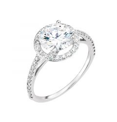VIVIENNE Pavé Halo Four Prong Solitaire Engagement Ring - MADE WITH SWAROVSKI® ELEMENTS
