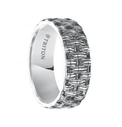 TAYLOR Flat Sterling Silver Comfort Fit Wedding Band with Woven Pattern and Black Oxidation Finish by Triton Rings - 7 mm