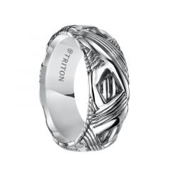 REUBEN Sterling Silver Cast Wedding Band with Diagonal Multi-Grooved Pattern by Triton Rings - 9 mm