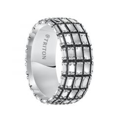 ADON Sterling Silver Wedding Band with Multiple Rows of Riveted Plate Design and Black Oxidation Finish by Triton Rings - 10 mm