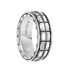 ARION Sterling Silver Wedding Band with Riveted Plate Design and Black Oxidation Finish by Triton Rings - 8 mm