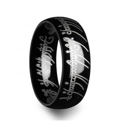 LOTR Lord of the Rings Black Tungsten Ring The One Engraved Sauron's Band - 6 mm - 10 mm